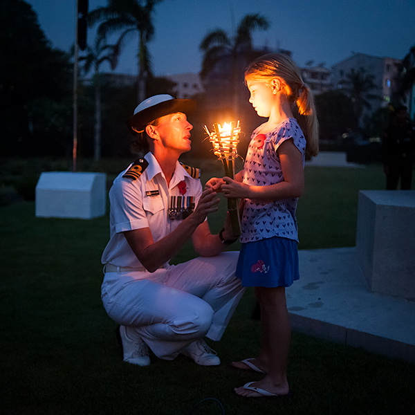LCDR Mariane Wray RNZNR attending the ANZAC Dawn Service, Rangoon War Cemetary (Australian Defence Attaché, Myanmar)