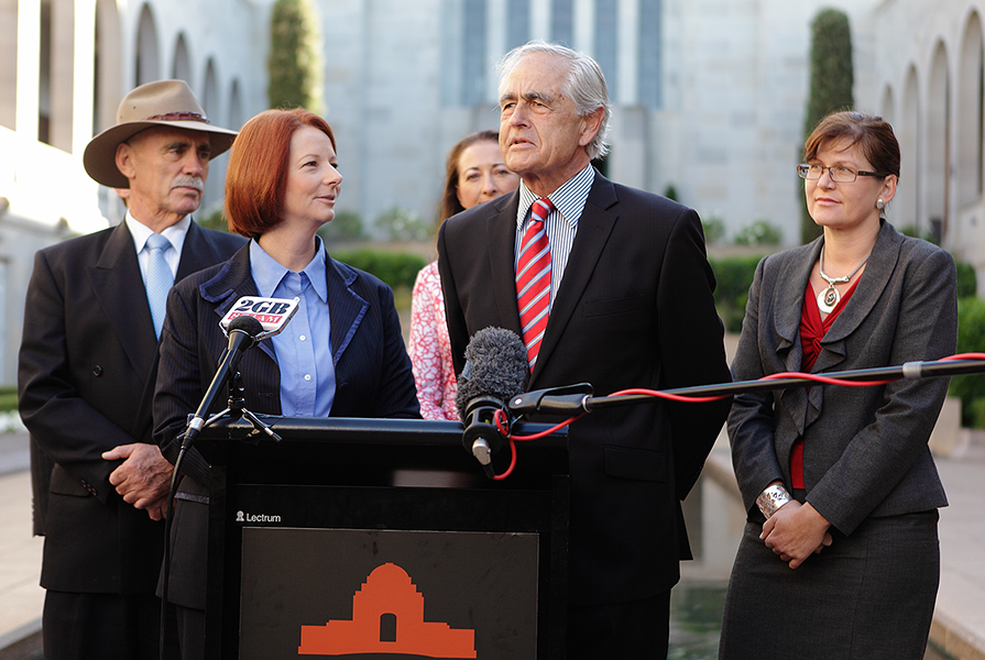 Prime Minister Julia Gillard MP and Steve Gower AO AO (Mil) announce a major funding boost for the Australian War Memorial in 2011. (Australian War Memorial)