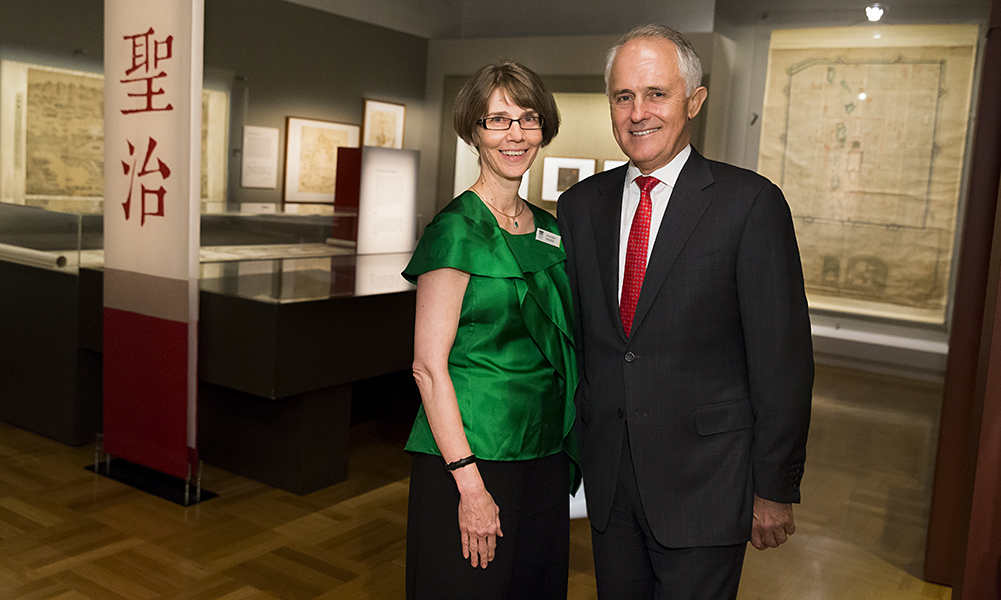 Ms Anne-Marie Schwirtlich AM and Prime Minister Malcolm Turnbull MP opening the exhibition